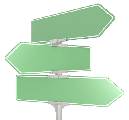 green street sign: Blank directional road signs X 3. Green for Copy Space. Isolated.