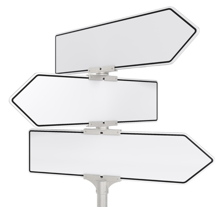 directional sign: Blank directional road signs X 3. White for Copy Space. Isolated. Stock Photo