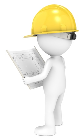 3d human: 3D little human character The Builder looking at a blueprint  Back view  People series