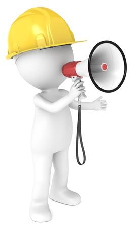 supervisores: 3D carácter humano poco El constructor con una serie Megáfono personas