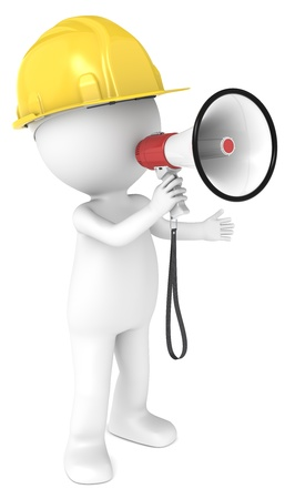 3D little human character The Builder with a Megaphone  People series  Stock Photo