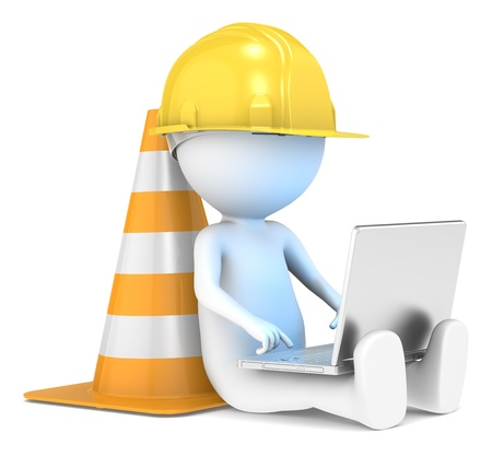 illuminative: 3D little human character The Builder sitting with a Laptop  Illuminative blue screen  People series  Stock Photo