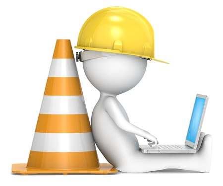 3D little human character The Builder sitting with a Laptop  Side view  People series  photo