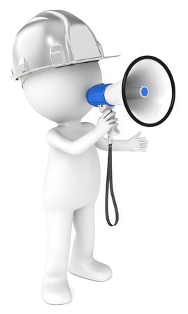 supervisores: 3D carácter humano poco el Generador de acero con un megáfono y la serie de gente azul