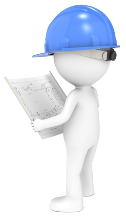 3D little human character The Builder looking at a blueprint  Back view  Blue  People series  photo