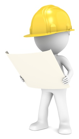 3D little human character The Builder looking at a blueprint  Front view  People series  photo
