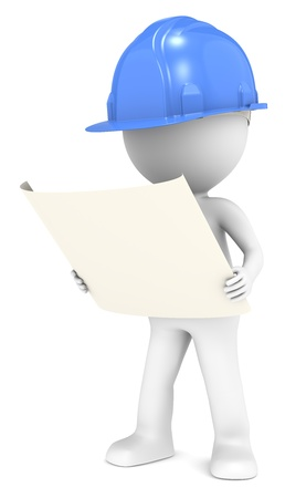 3D little human character The Builder looking at a blueprint  Front view  Blue  People series  photo