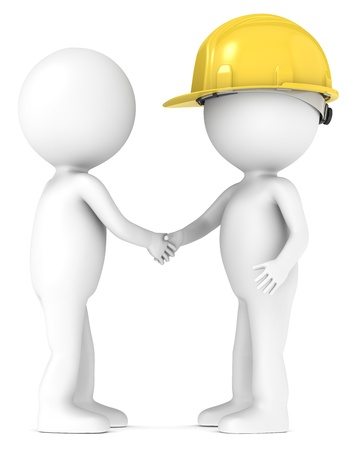 3d small people: 3D little human character shaking hands with the Contractor  People series