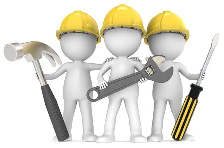 la gente de trabajo: 3D peque�o personaje humano El X3 Constructores con las herramientas de serie de personas