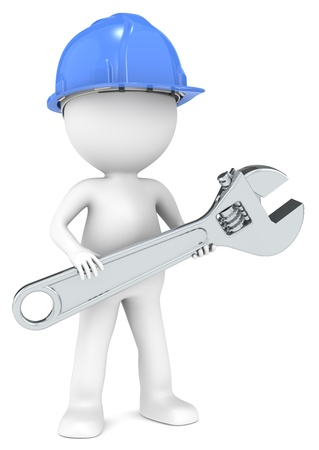 Zeichen: 3D kleinen menschlichen Charakter der Baumeister mit einem verstellbaren Schraubenschl�ssel Blau und Stahl Leute Serie Lizenzfreie Bilder