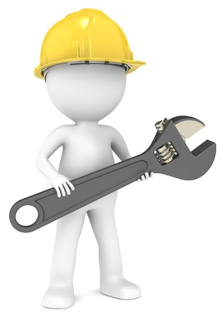 3D little human character The Builder with an adjustable Wrench   People series  photo