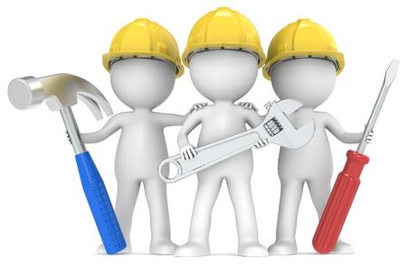 mantenimiento: 3D peque�o personaje humano El X3 Constructores con las herramientas de edici�n de la serie Color de personas Foto de archivo