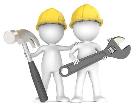 3D weinig menselijke karakter De bouwers X2 met hamer en moersleutel. Mensen Series.