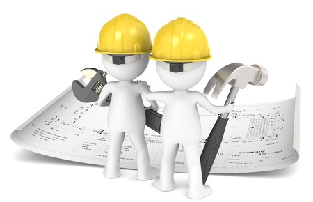 3D little human character The Builder X2 planning infront of a Blueprint. People series. Stock Photo