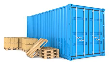 export and import: Contenedor de carga azul, paletas y cajas de cart�n y de almacenes de distribuci�n de la serie