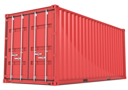 Red Cargo Container  Perspective view  photo