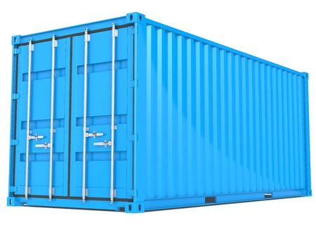 cargo container: Blue Cargo Container  Perspective view