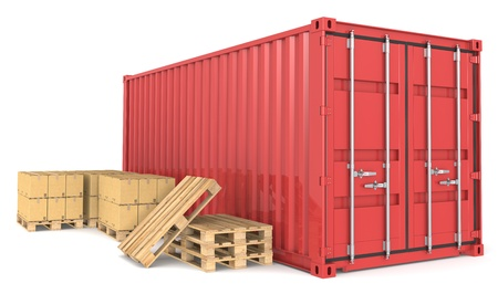 paper container: Red Cargo Container, pallets and cardboard boxes. Warehouse and distribution series. Stock Photo