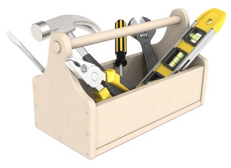 Boîte à outils des outils divers en bois