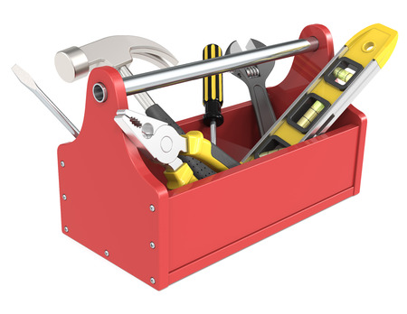 building tool: Toolbox of wood painted red  Miscellaneous Tools  Stock Photo
