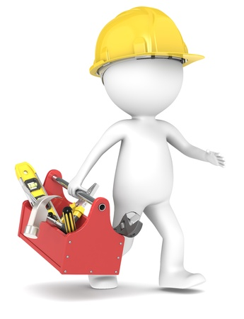 constructors: 3D little human character The Builder running with a toolbox People series