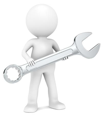 herramientas de mec�nica: El mec�nico 3D peque�o personaje humano con una serie llave personas