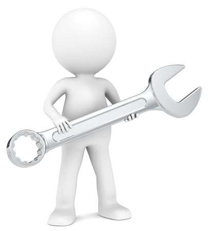 mechanical: The Mechanic 3D weinig menselijk karakter met een sleutel People serie