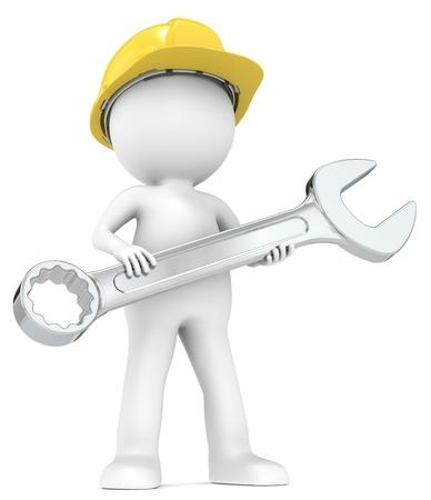 herramientas de mecánica: El mecánico 3D pequeño personaje humano con casco y series llave personas