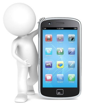 3D little human character holding a Smartphone with icons. People series. Stock Photo - 14747743