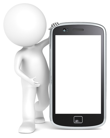mobile device: 3D little human character holding a Smartphone. Blank for Copy Space. People series.