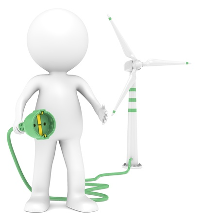 sustainable resources: 3D little human character holding a Power Cable connected to a Windmill. People series.