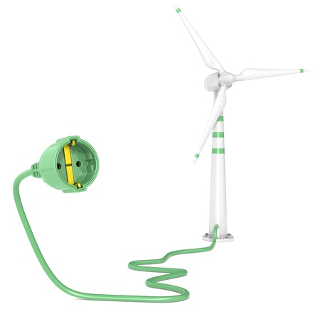 A Single Wind Turbine connected to a Power Cable. White Background. photo