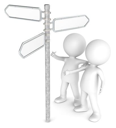 personnage: 3D petits personnages humains 2 X regardant un signe directionnel. Blanc pour l'espace de copie. Les gens de la s�rie. Banque d'images