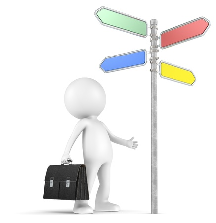 3D little human character the Businessman looking at a 4-way Directional Sign  People series  Stock Photo - 14828014