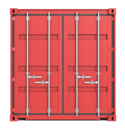 Red Cargo Container. Front view. photo