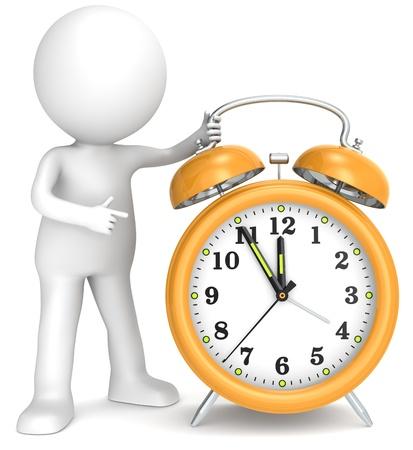 despertarse: De cinco a doce 3D car�cter humano poco apuntando a un Manos de reloj de cinco a doce series Personas Orange