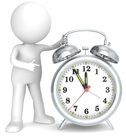 timer: Deadline  3D little human character pointing at a Clock  Hands at five to twelve  Metal  People series  Stock Photo