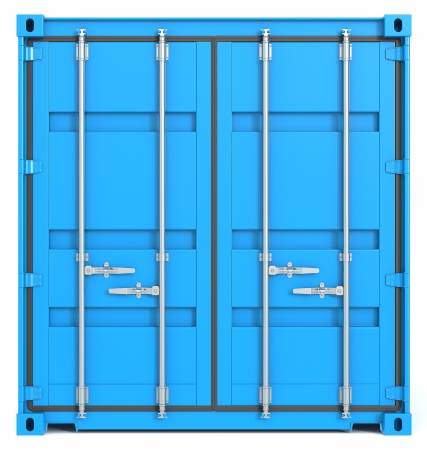 Blue Cargo Container  Closed Doors  Front view  photo