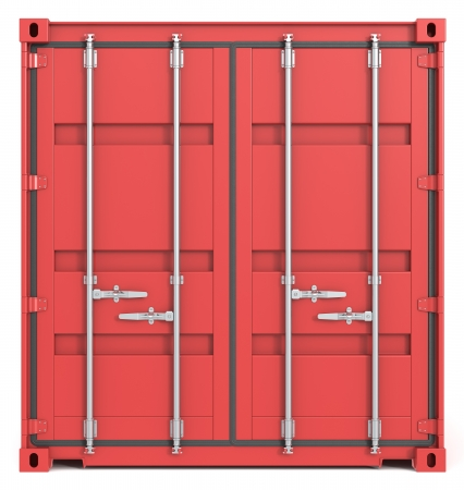 Red Cargo Container  Closed Doors  Front view  photo