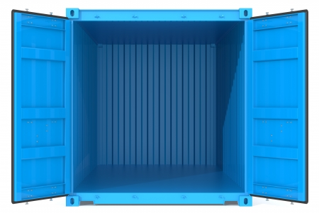 storage compartment: Open Container  Blue Cargo Container  Open Doors  Front view  Stock Photo