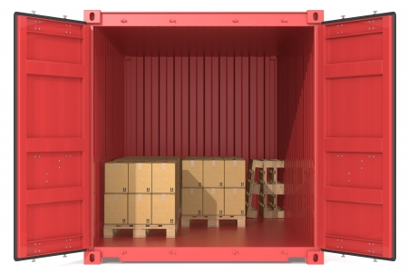 Container with goods  Red Cargo Container  Open Doors  Pallets and Boxes  Front view  Stock Photo