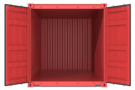 storage compartment: Open Container  Red Cargo Container  Open Doors  Front view  Stock Photo