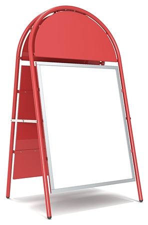 Red Sandwich Board with Logo Plate  Blank for Copy Space  photo