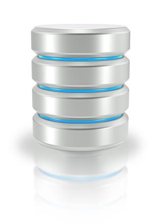 실린더: 추상 데이터베이스 아이콘 흰색 배경 스톡 사진