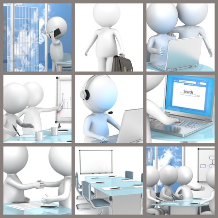 Collage of business people at the office. 3d little human characters.  Stock Photo