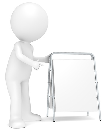 3D little human character pointing at a White Sandwich Board  Copy Space  photo
