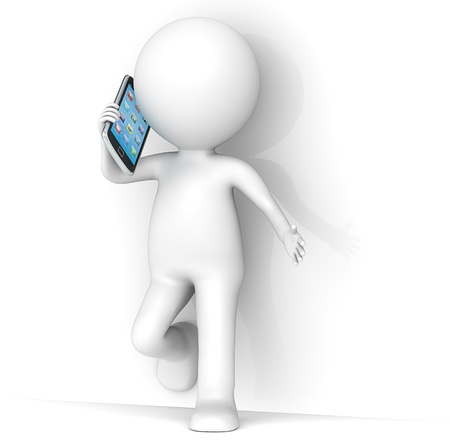 mobilephones: 3D little human character leaning against a wall, talking on a Smartphone  People series  Stock Photo