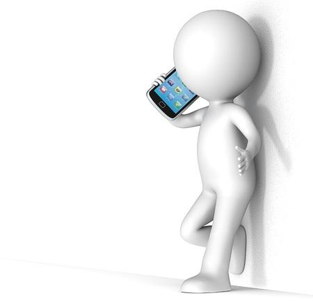 charakter: 3D malý lidský charakter se opírá o hrubou stěnu, mluví o sérii Smartphone Lidé Reklamní fotografie