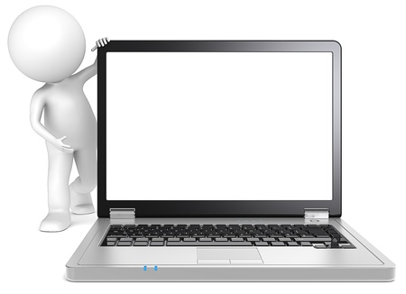 3d character: Presentation  3D little human character Showing a Blank Laptop Screen  Black and metal  Copy Space  People series