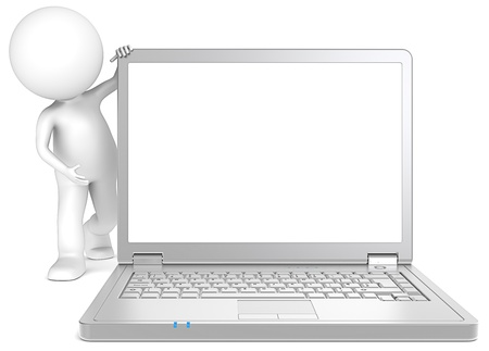 3D little human character Showing a Steel Laptop  Copy Space  People series  photo